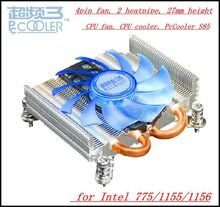 Free shiping 4pin fan, 2 heatpipe,  27mm height for HTPC mini case, for Intel 775/1155/1156, CPU fan, CPU cooler, PcCooler S85