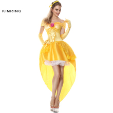 Kimring Belle Princess Halloween Costume Fantasia Women Cosplay Beauty And The Beast Adult Princess Costume Fancy Party Dress(China)