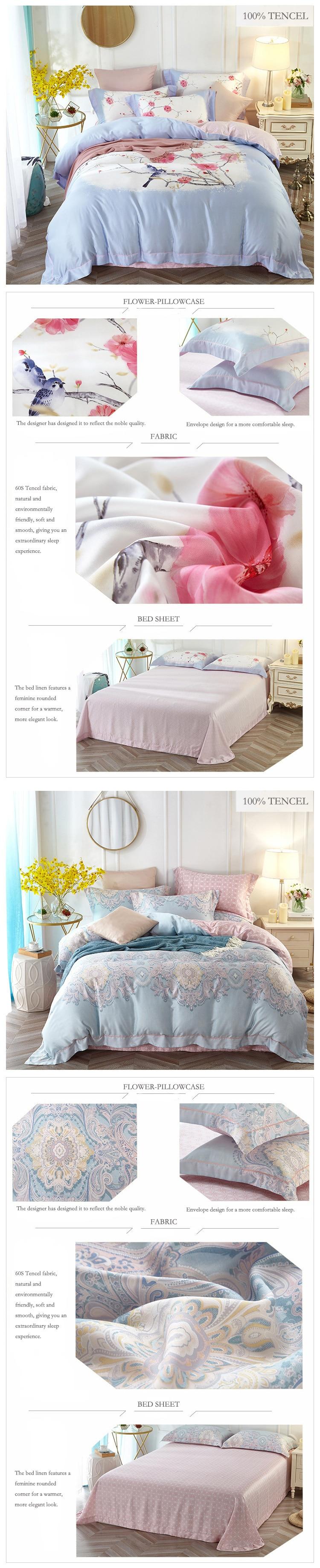 princess bedding set tencel cotton wedding bed set home textile plant flower bed linen king size comforter set bettwasche 08