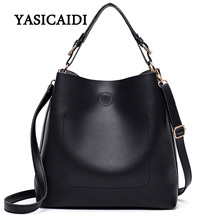 New Large Capacity Women Bag Fashion Pu Leather Shoulder Bag Casual Tote Bag Designer Female Bucket Handbags Composite Bag(China)