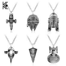 Kinds Of Star Wars Millennium Falcon Darth Vader Metal Pendant Necklace Christmas Gifts For Fans Souvenirs Movie Jewelry(China)