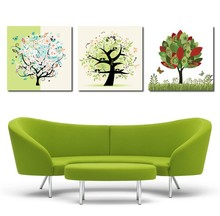 3 PCS Colorful Tree Scenery Painting Carton Tree Pattern Canvas Painting Wall Pictures For Kid Living Room Bedroom