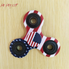 Fidget Hand Spinner Toy National Flag Pattern Tri-Spinner ADHD EDC Fidgets Spinner Focus Keep Anti Stress Toys Hand Spinners