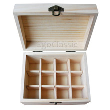 Factory Wholesale 6 pieces/set Natural pine wooden boxes Essential Oils Storage Box 12 holes 5ml - 20ml bottles without paint(China)