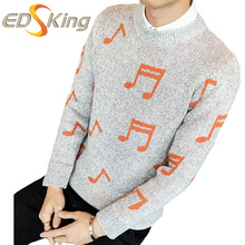 Sweater Men Musical Note Knitted Dress Pullover Mens Sweater Long Winter Thick Fashion For Man Stylish Male Brand-Clothing