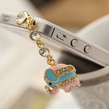 Lovely Color Drop Oil  Fashion style 3.5mm Elephant Design Mobile Phone Ear Cap Dust Plug For Iphone Samsung dust plug