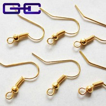500 PCS/4.5USD Wholesale 18k Gold plated French Wire Earring fish Hooks Plain coil ear wire Earrings EARWIRE ,Free Shipping!(China)