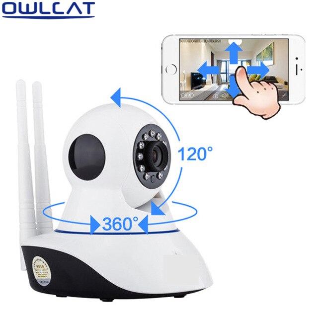 OWLCAT Home Dome WIFI IP Camera HD 720P Video Surveillance Webcam SD Card Two Way Audio Talk Inrared IR 1.0 Megapixels Pan Tilt<br>