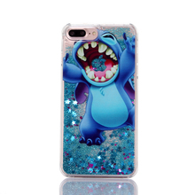 BINYEAE New cartoon  for iphone5/6/7 Plus mickey Frozen Stitch Simpsons Princess Mermaid Liquid Quicksand phone shell A066