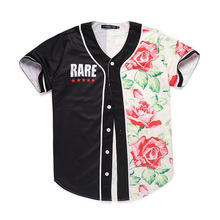 Cloudstyle 2017 Floral 3D Baseball Jersey Men Buttons Short Sleeve Tee Tops Red Rose Flower 3D Printed Summer Mens Slim Fitness(China)