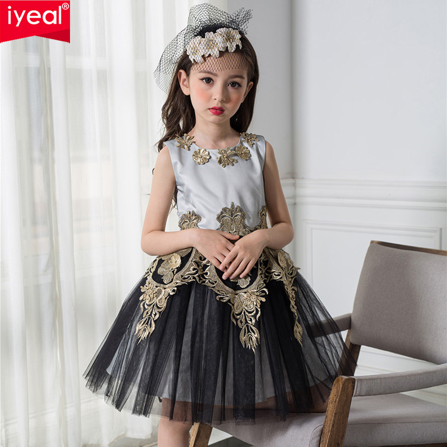 IYEAL 2017 Black and Gold Princess Vintage Girl Dresses Embroidered Formal Party Girl Christmas Princess Kids Clothes <br>