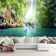 Buy beibehang Custom wall paper painting dolphin swimming dove cliff sea tourism scenery living room sofa background mural wallpaper for $15.30 in AliExpress store