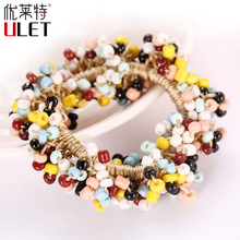 2016 New Fashion Women Girl Elastic Headbands Handmade Glass bead Hair Band Rope Ponytail Holder Hair Accessories
