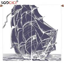 Window Curtains Treatments 2 Panels,Nautical Old Sail Boat in the Ocean on White Background Pirate Tresure Retro Illustration(China)