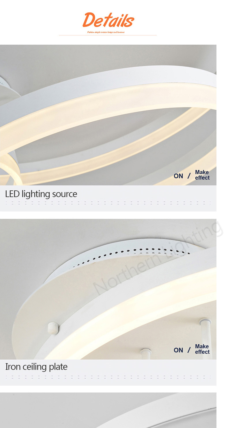 New Arrival designer Creative Circle rings modern LED ceiling lights for livingroom bedroom Remote control ceiling lamp fixtures