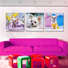 Modern Decor Dog Puppy Art Painting Canvas Printings Cute Pet Dogs Wall Pictures For Bedroom Kids Baby Room Decoration No Frame