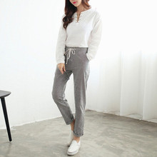 Women Casual Long Pants 2017 Summer Autumn Elastic Waist Pockets Elegant Vertical StripeThin Slim Cotton Blend Trouser(China)