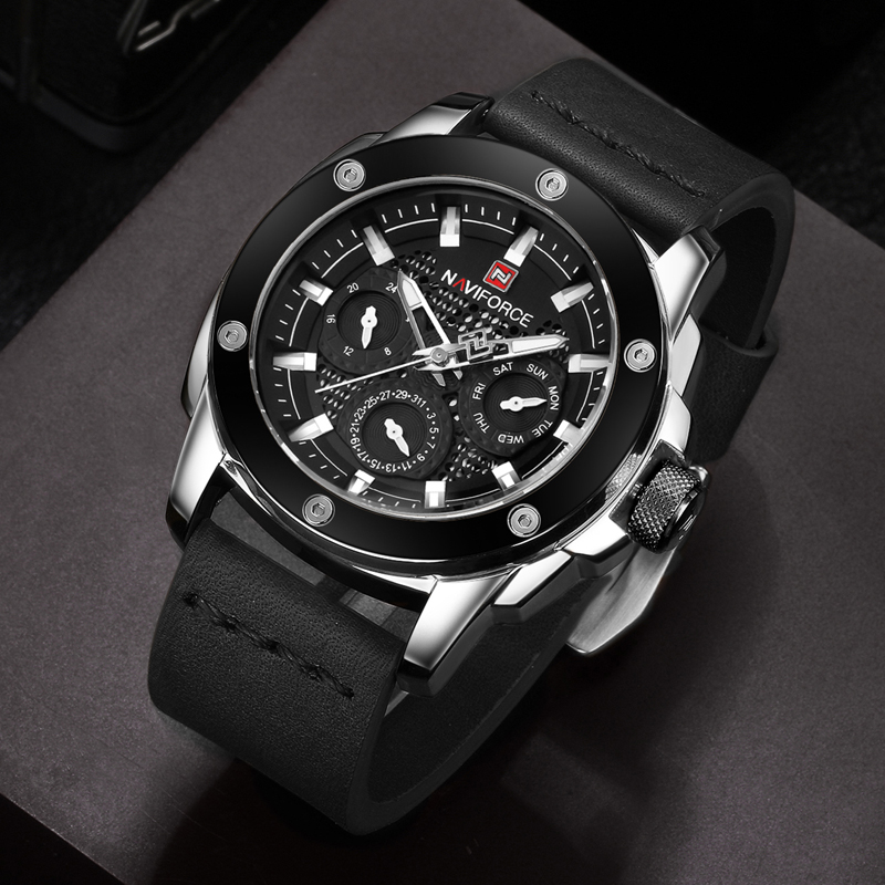 NAVIFORCE Luxury Brand Mens Quartz Watch Men Waterproof Sports dress Watches Man Leather Calendar saat Clock Relogio Masculino<br>