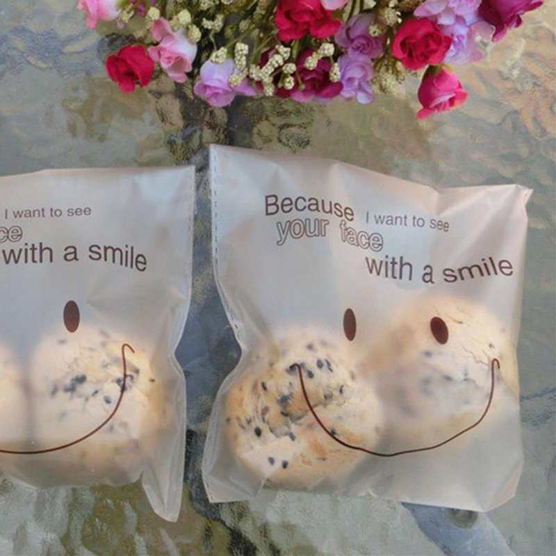 50pcs SmileFace Self Adhesive Plastic Packing Bags DIY Candy Cookie Biscuits Snack Bag for Home Wedding Party Gift Bag
