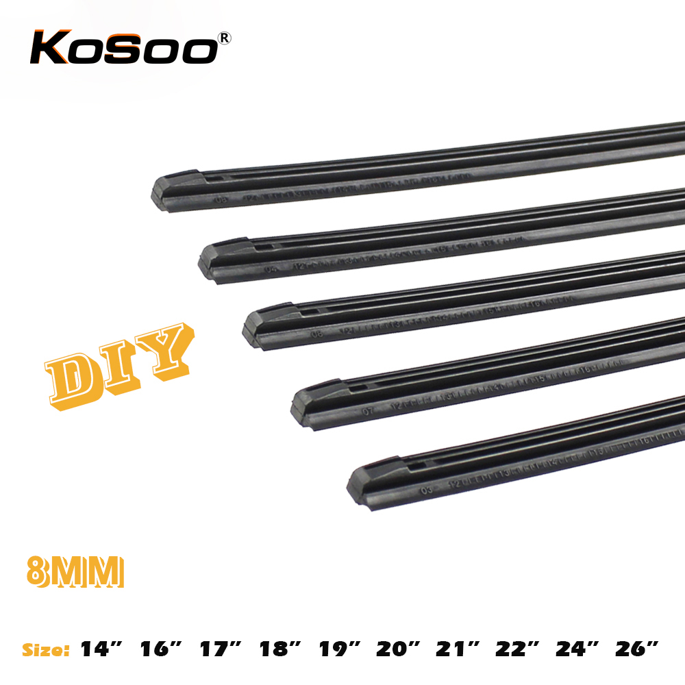 "KOSOO 1pcs Diy car wiper blade,Windscreen wiper blade replacement strip,3 Section Rubber 14"" 16"" 17"" 18"" 19"" 20"" 21"" 22"" 24"" 26""(China)"