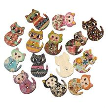 50pcs Multicolored Cat Shaped 2 Holes Holiday Supplies For Party Wholesale Wood Printing Sewing Buttons (Mixed Color)