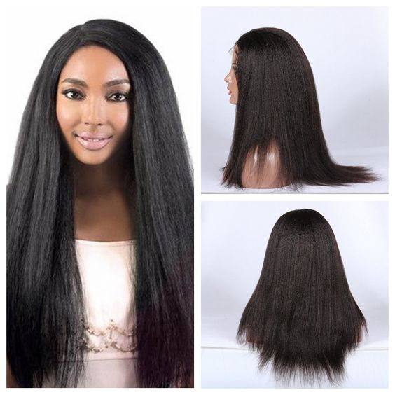 1b # Long Kinky Straight Synthetic Lace Front Wig &amp; Full Machine No Lace Wigs For Black Women Heat Resistant 12-26 inch 150%<br><br>Aliexpress