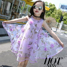 Elegant Kids Dresses For Girls Fashion Floral Chiffon Girls Summer Dress Birthday Party Princess Dress Vestidos Infantis 5511W