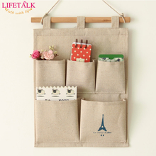 New Brand Home Decorating 5 Grid Sundries Storage Bags Retro Style Organizer Hanging Bags Jute Wall Pocket(China)