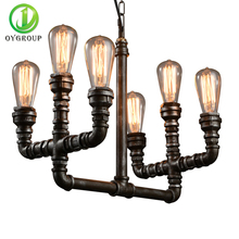 Iron Water Pipe Pedant Light 6 Heads E27 Vintage Loft Steam Pipe Chain Pendant Home Decor Light American Industrial U-shape Lamp