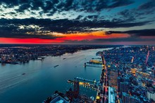 New York City Manhattan Hudson River Sunset Evening Landscape Scenery Poster Fabric Silk Poster Print Great Pictures On The Wall