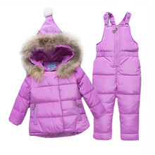 Girls Ski Suit Winter Children Clothing Set for Girls Flowers Jacket Coat+Overalls Warm Windproof Snowsuit Infant Clothing Girl(China)