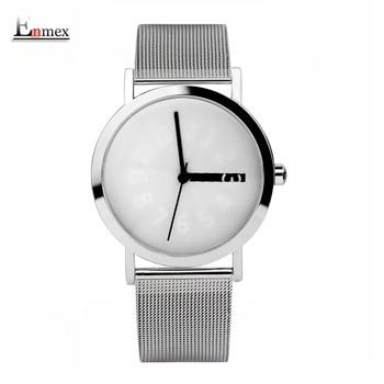 2017 design criativo enmex frabic malha de aço relógio de pulso banda mutável número hour mão simples design de moda relógios de quartzo