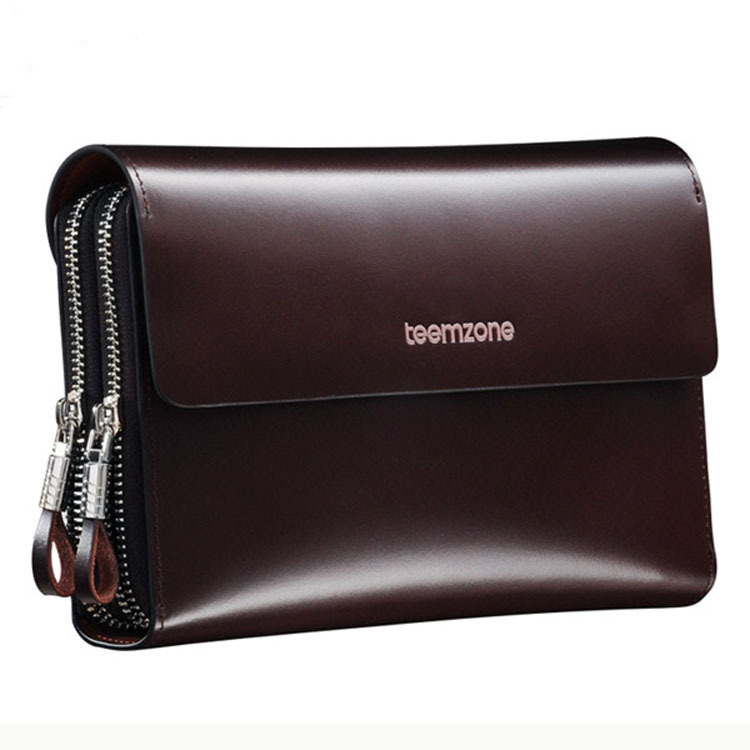 teemzone - Hot Sell Genuine Leather Mens Clutch Wallet Hasp Zipper Closure Smooth Carteras Designer Male Portofolio J25<br>