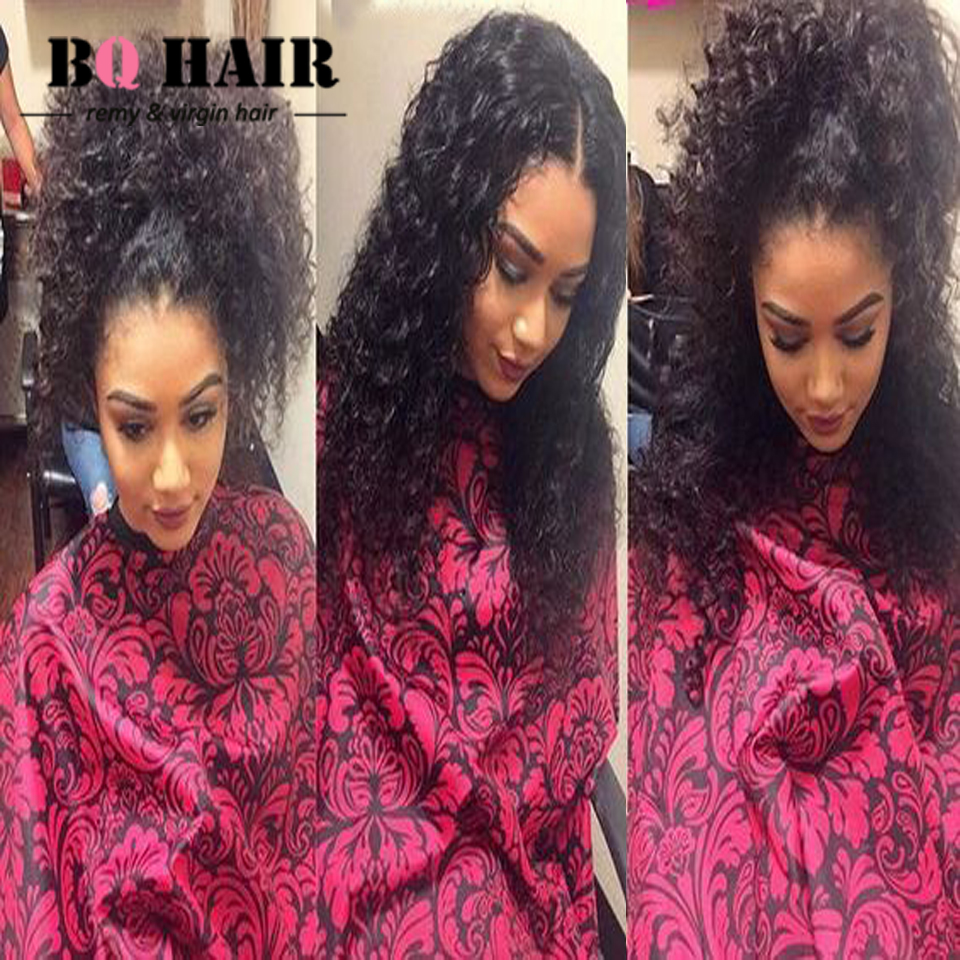 BQ HAIR 8A Mink Brazilian Curly Weave with Frontal 360 Pre Plucked Band With 3 Bundles Peerless Virgin Hair Fermeture Tissage <br><br>Aliexpress