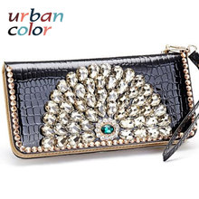 Women's Long Peacock Diamond Wallet European Style Party Handbag Luxury Ladies Evening Bag Patent Leather Clutch Purse Hot Sale