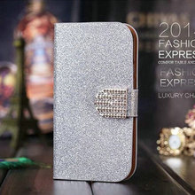 Hot!Fashion Book Flip Shiny Skin PU Leather Stand Phone Case For Lenovo A5000 A 5000 Cover With Safe Buckle and Card Holder