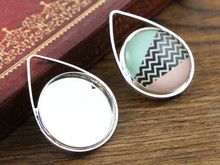 10pcs 20mm Inner Size Bright Silver Copper Material Drop Style Handmade Cabochon Bases Cameo Base Pendant (D2-18)