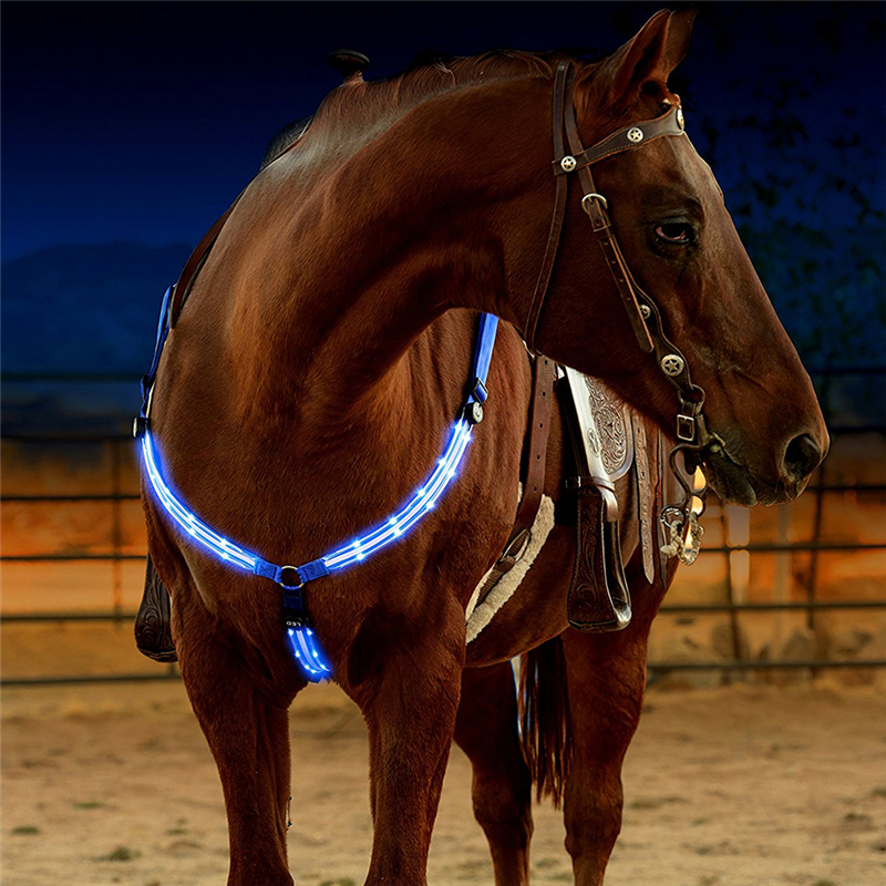 Rechargeable LED Horse Breastplate Collar Horse Harness Night Visible Equestrian Equipment Horsing Accessory Tool Hoster BridleA<br>
