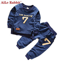 AiLe Rabbit Summer 2016 New Baby Boy Pattern Rabbit Toddler Plaid Kids Clothes Children Clothing Set