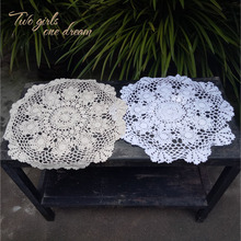 Handmade Crochet Hook Tablecloth Shooting Disc Pad Props Pure Beige White Cotton Decorative Round Table Mat 40-50cm Doily Prop(China)