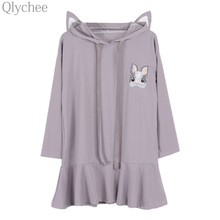 Qlychee Summer Women Kawaii Cartoon Pullover Cute Rabbit Embroidery Ear Hooded Sweatshirt Long Sleeve Lolita Tracksuit(China)