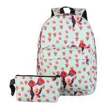 Unisex Leisure Print Girls Floral Canvas Backpacks Printing Bags Backpack Women & hand bag mochila feminina school bags bagpack(China)