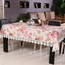 Wedding Decoration Table Cloth Pink Lace Printed Round Tablecloth Noble Casamento Vintage Nappe Rectangulaire Decoration(China)