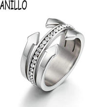 ANILLO New Women Nail Ring Fashion Concise AAA Zircon Stainless Steel Silver Color Jewelry Best Sellers(China)