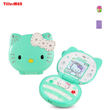 KUH T99 flip lovely cartoon cat small women kids girls diamond Bluetooth dialer cute mini cell mobile phone unlocked(China)