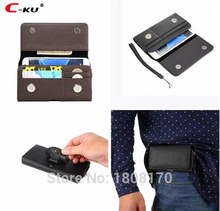 C-ku Universal Clip belt Holster Hasp Leather Case For iPhone 7 6 6S Plus Samsung Galaxy S8 S6 S7 Edge S5 Note 5 2 3 4 Bag 1pcs(China)