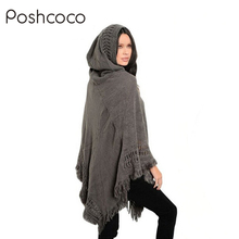 Casual Loose Knitted Hooded Solid Hollow Tassel Women Poncho Shawls Scarves Wraps 2017 Autumn Warm Winter Hoodies Scarf bandana