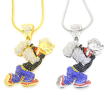New Bling Bling Iced Out Large Size Cartoon Movie Crystal pendant Hip hop Necklace Jewelry 36inch Franco chain N634(China)