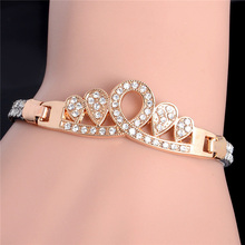 SHUANGR SHUANGR OL Style CZ Micro Pave Fashion Bracelets & Bangles Gold-Color Heart Tone Crystal Jewelry For Women