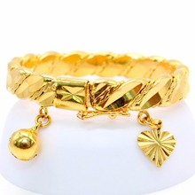 Gold Color Bell Heart Charm Bracelet Children Boys Girls Baby Kids Bangle Birthday Jewelry Gift Anti-Allery(China)